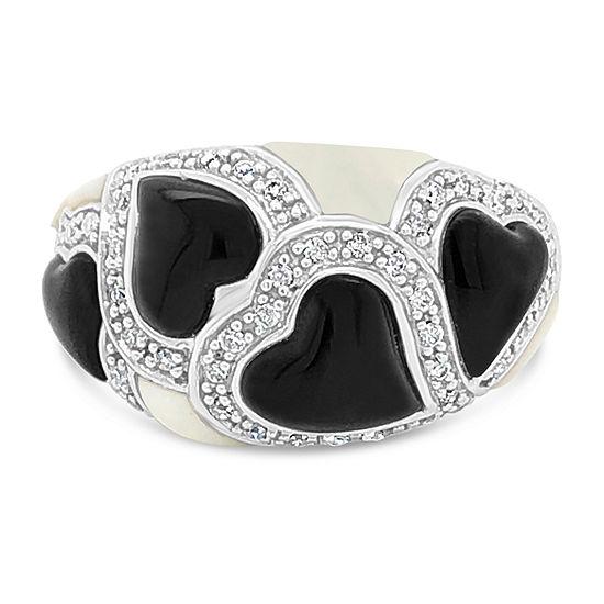 LIMITED QUANTITIES! Le Vian Grand Sample Sale™ Ring featuring Onyx White Agate Vanilla Diamonds® set in 14K Vanilla Gold®
