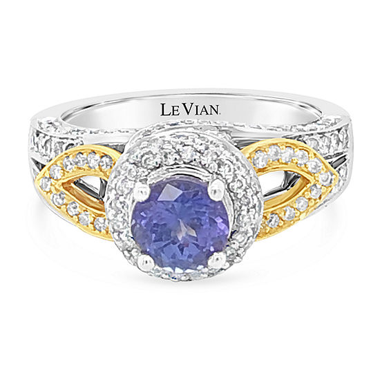 LIMITED QUANTITIES! Le Vian Grand Sample Sale™ Ring featuring Blueberry Tanzanite® Vanilla Diamonds® set in 14K Two Tone Gold