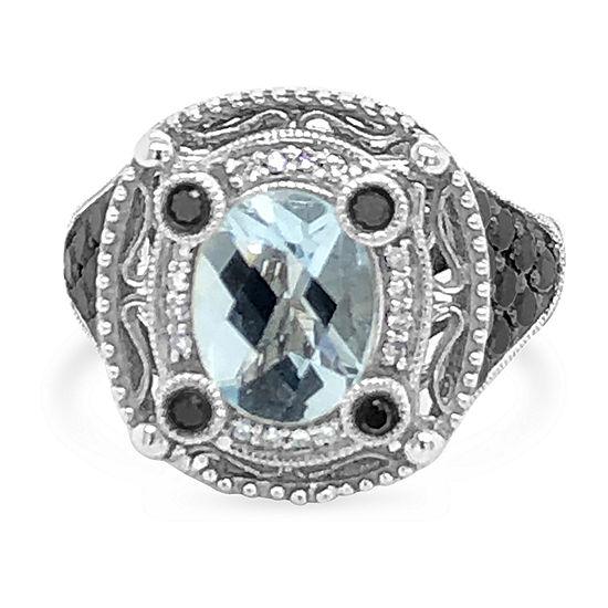 LIMITED QUANTITIES! Le Vian Grand Sample Sale™ Ring featuring Sea Blue Aquamarine® Black Diamonds Vanilla Diamonds® set in 14K Vanilla Gold®