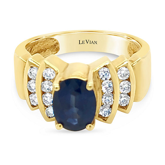 LIMITED QUANTITIES! Le Vian Grand Sample Sale™ Ring featuring Blueberry Sapphire™ Vanilla Diamonds® set in 18K Honey Gold™