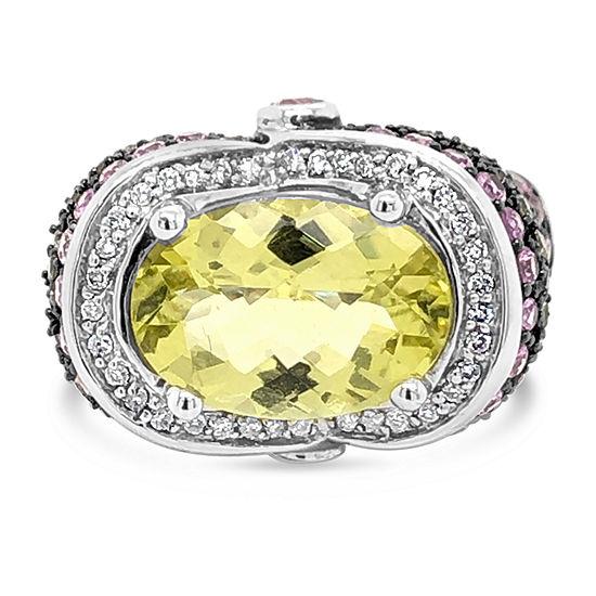 LIMITED QUANTITIES! Le Vian Grand Sample Sale™ Ring featuring Lemon Quartz Bubble Gum Pink Sapphire™ Green Sapphire Vanilla Diamonds® set in 14K Vanilla Gold®