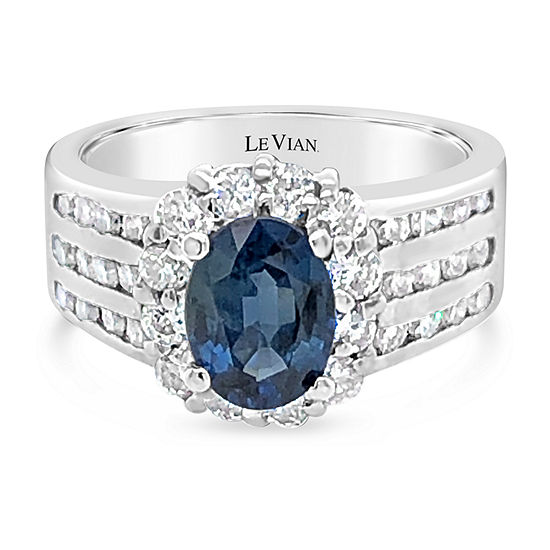 LIMITED QUANTITIES! Le Vian Grand Sample Sale™ Ring featuring Blueberry Sapphire™ Vanilla Diamonds® set in 18K Vanilla Gold®