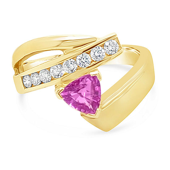 LIMITED QUANTITIES! Le Vian Grand Sample Sale™ Ring featuring Bubble Gum Pink Sapphire™ Vanilla Diamonds® set in 14K Honey Gold™