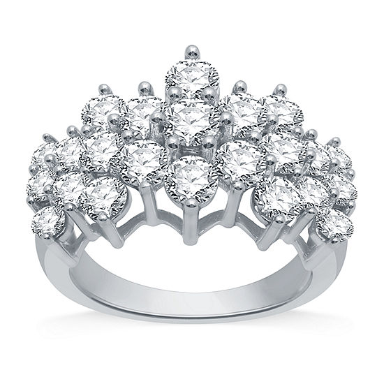 Womens 3 CT. T.W. Genuine Diamond 10K White Gold Cocktail Ring