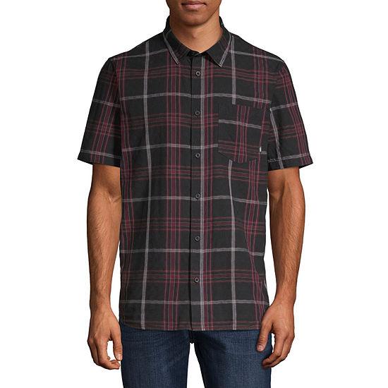 Vans Mens Collar Neck Short Sleeve Button-Front Shirt