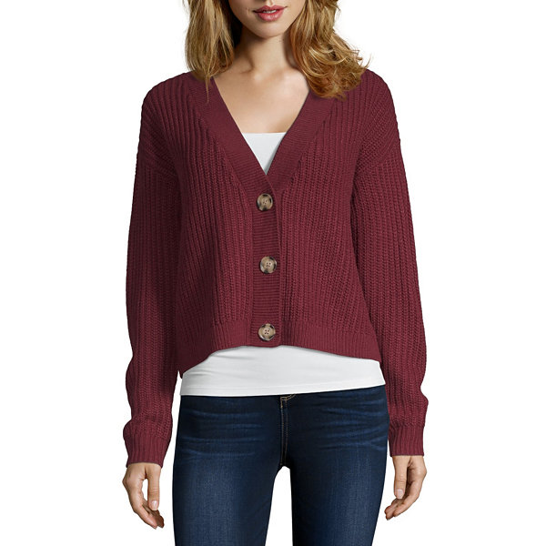 Arizona-Juniors Womens V Neck Long Sleeve Cardigan
