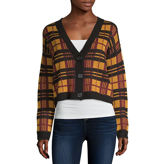 Arizona Womens V Neck Long Sleeve Plaid Cardigan-Juniors