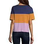 Arizona-Womens Crew Neck Short Sleeve T-Shirt Juniors