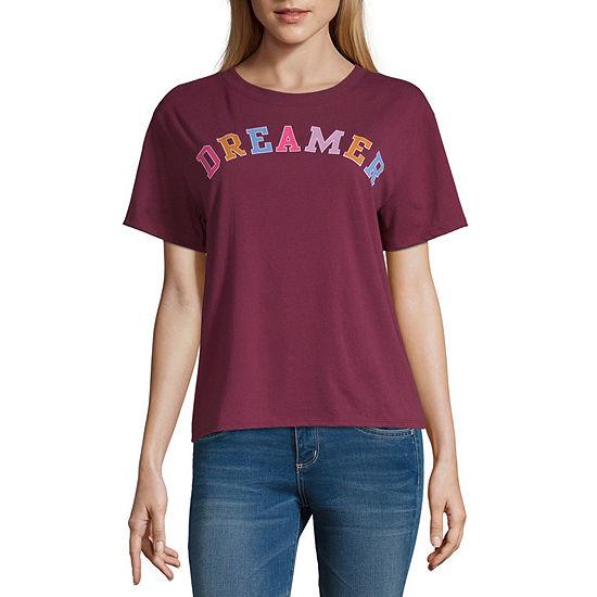 Arizona-Juniors Womens Crew Neck Short Sleeve Graphic T-Shirt