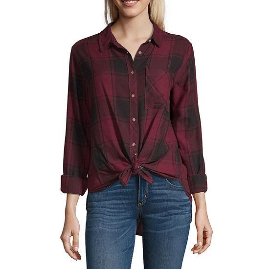 Arizona-Juniors Womens Long Sleeve Regular Fit Button-Down Shirt