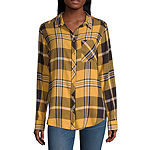 Arizona-Juniors Womens Long Sleeve Regular Fit Button-Front Shirt