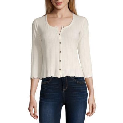 Arizona Womens 3/4 Sleeve Button-Front Shirt-Juniors