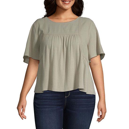 Arizona Juniors Plus Womens Scoop Neck Short Sleeve T-Shirt