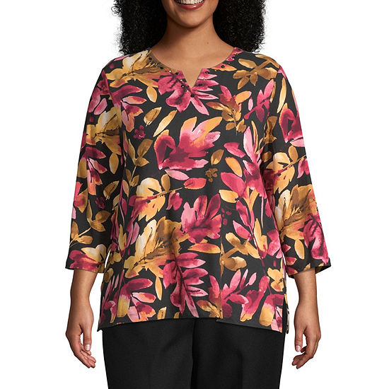 Alfred Dunner Classics-Womens Asymmetrical Neck 3/4 Sleeve T-Shirt Plus