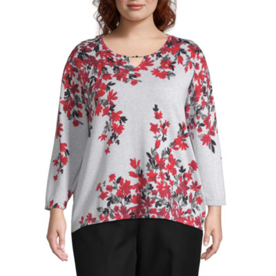 Alfred Dunner Well Red Womens Keyhole Neck 3/4 Sleeve Floral Pullover Sweater - Plus