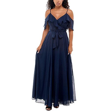 70s Sequin Dresses, Disco Dresses Premier Amour Cold Shoulder Maxi Dress 10  Blue $62.30 AT vintagedancer.com