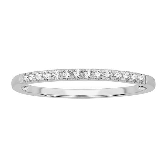 1/10 CT. T.W. Genuine White Diamond 10K White Gold Wedding Band