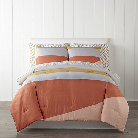 Home Expressions Retro Colorblock Complete Bedding Set with Sheets