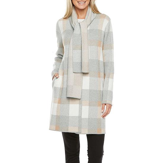 Liz Claiborne Womens Long Sleeve Plaid Cardigan