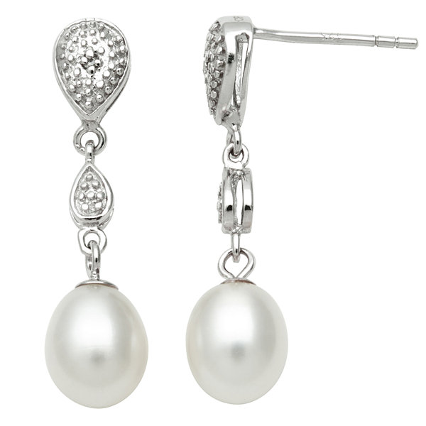 Freshwater Pearl & Diamond-Accent Earrings