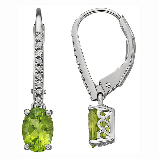 Sterling Silver Peridot & Diamond-Accent Earrings