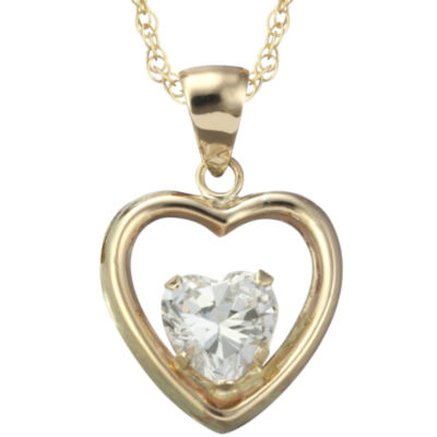 10K Cubic Zirconia Heart Pendant with Gold Filled Chain Necklace