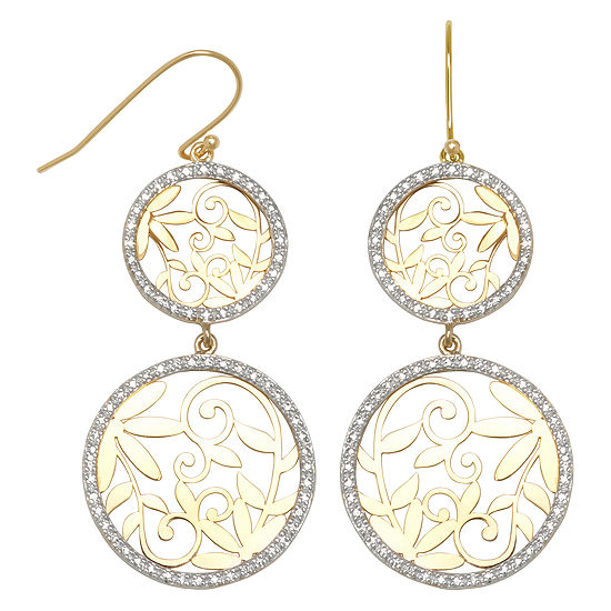 14k Gold Over Silver Diamond Accent Double Circle Earrings