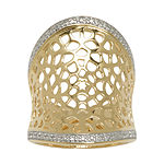14K Gold Over Silver Diamond-Accent Concave Ring