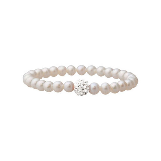 Girls Cultured Freshwater Pearl & Crystal Bracelet