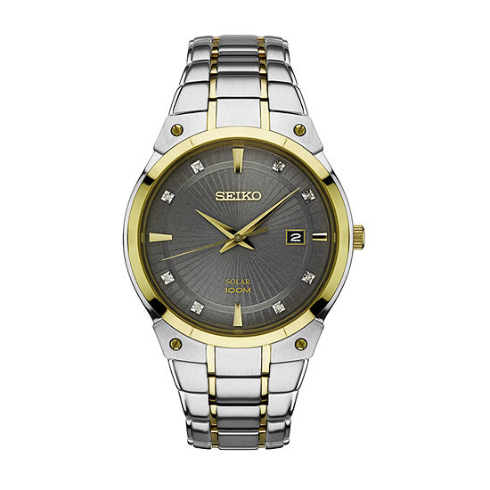 Seiko Mens Two Tone Stainless Steel Bracelet Watch-Sne430