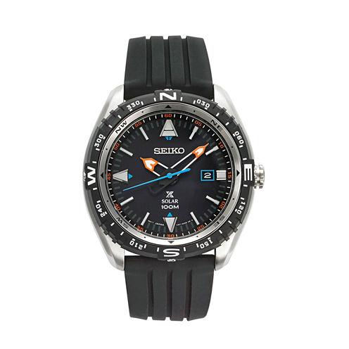Seiko Mens Black Strap Watch-Sne423