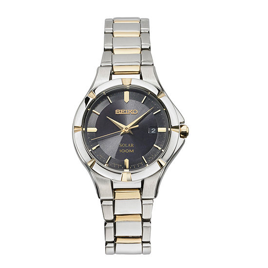 Seiko Womens Two Tone Stainless Steel Bracelet Watch-Sut316