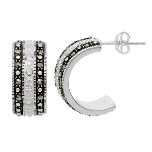 Sparkle Allure Le Vieux Silver Over Brass Hoop Earrings