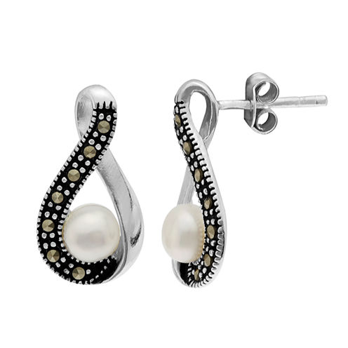 Sparkle Allure Le Vieux Silver Over Brass Stud Earrings