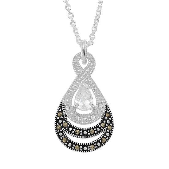 Sparkle Allure Le Vieux Marcasite Pure Silver Over Brass Cable Pendant Necklace