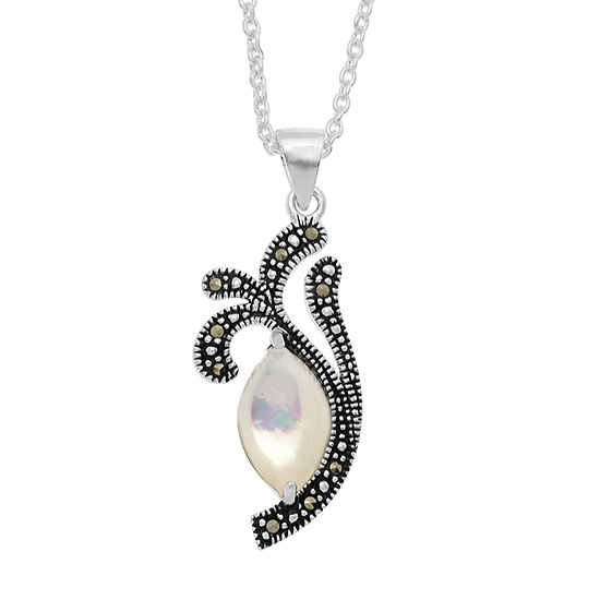 Sparkle Allure Le Vieux Marcasite Pure Silver Over Brass Pendant Necklace