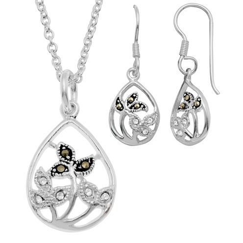 Sparkle Allure Le Vieux Marcasite Silver Over Brass Jewelry Set
