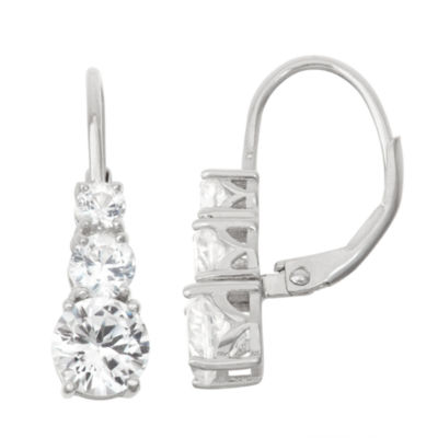Lab Created White Sapphire Sterling Silver Leverback Earring