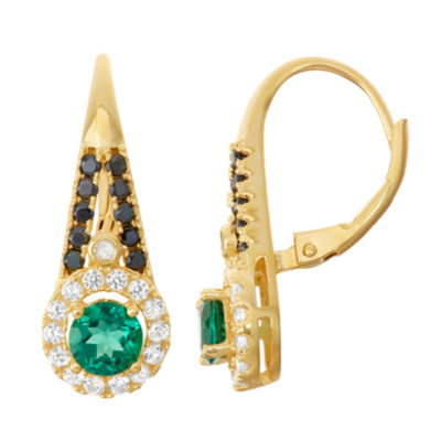 Diamond-Accent Lab Created Emerald Genuine Black Spinel & Created White Sapphire 14K Gold Over Silver Leverback Earring