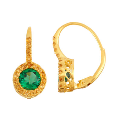 Lab Created Emerald & Genuine Citrine 14K Gold Over Silver Leverback Earring