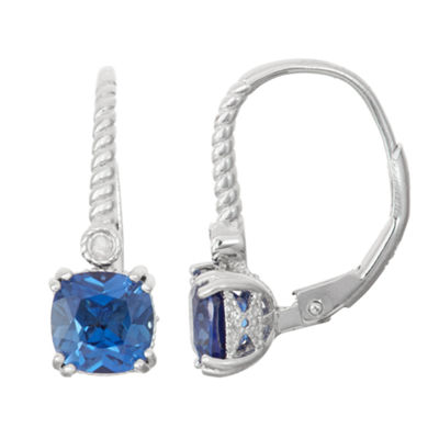 Diamond-Accent Lab Created Blue Sapphire Sterling Silver Leverback Earring