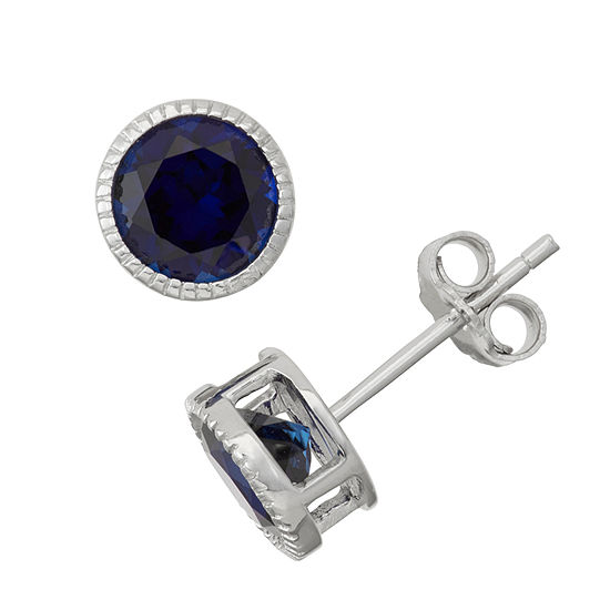 Lab Created Blue Sapphire Sterling Silver Stud Earring