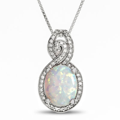 Lab Created Opal & White Sapphire Sterling Silver Pendant Necklace