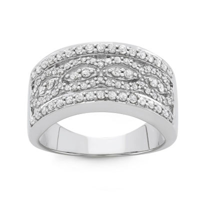 Womens 3/4 CT. T.W. White Diamond 10K Gold Band