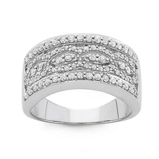 Womens 3 4 Ct Tw Genuine White Diamond 10k Gold Band
