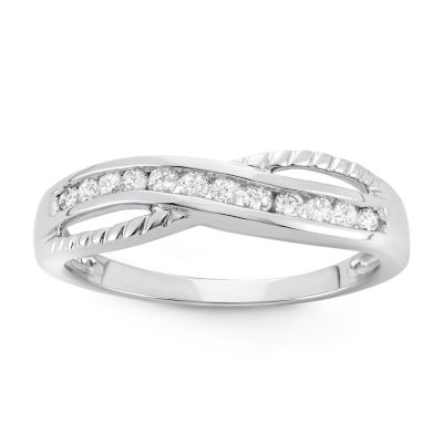 Womens 1/4 CT. T.W. Genuine White Diamond 10K Gold Band