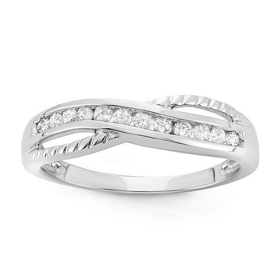 Womens 1/4 CT. T.W. Genuine White Diamond 10K Gold Band