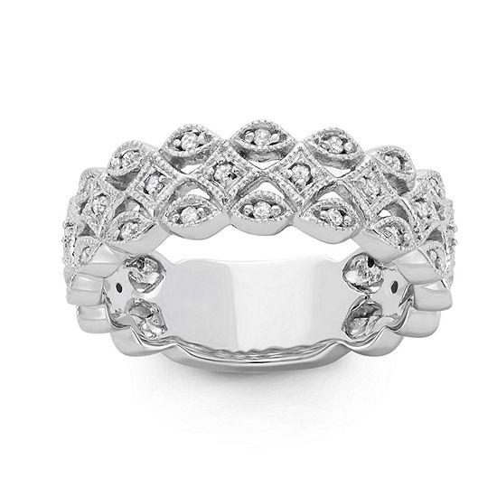 Womens 6MM 1/5 CT. T.W. Genuine White Diamond 10K Gold Band