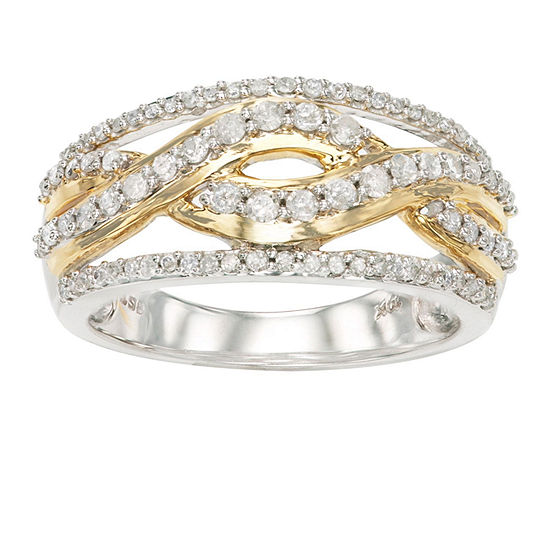 Womens 1 2 Ct Tw Genuine White Diamond 10k Gold Cocktail Ring