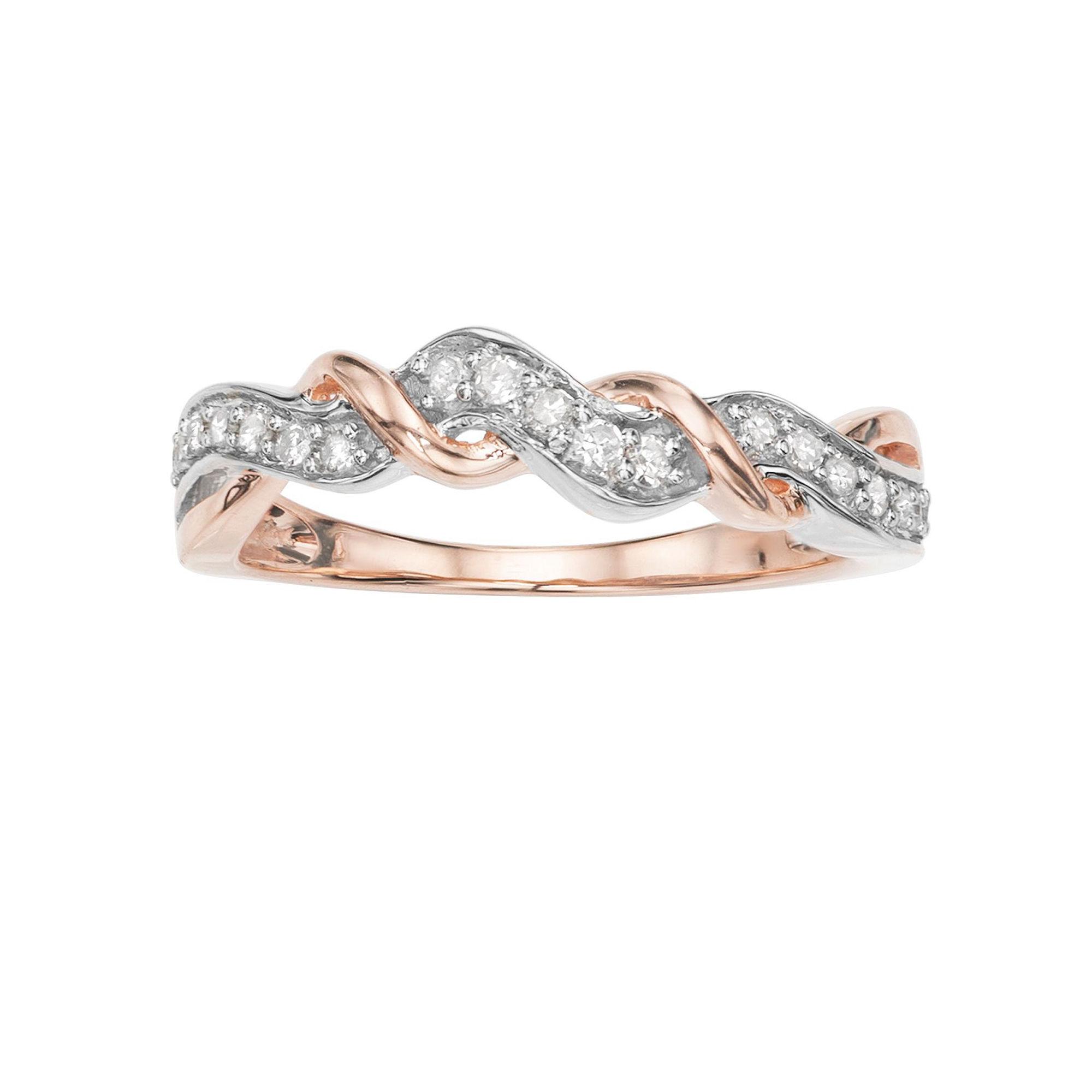 Womens 1/5 CT. T.W. Genuine White Diamond 10K Gold Cocktail Ring